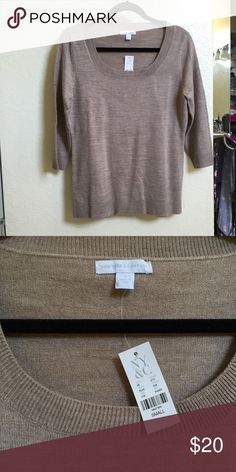 New York & Co sweater Beige New York & Co. sweater. Given to me as a gift and never worn. 3/4 sleeves. Ability to layer nicely! New York & Company Sweaters Crew & Scoop Necks