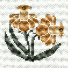 This is from -- Prairie Schooler's Garden Blooms - 1 of 8 designs. Mini Cross Stitch, Simple Cross Stitch, Cross Stitch Borders, Cross Stitch Samplers, Cross Stitch Flowers, Cross Stitch Designs, Cross Stitching, Cross Stitch Embroidery, Cross Stitch Patterns