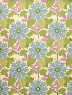 Retro Wallpaper - Vintage Yellow, Blue, Green, and Brown Floral ...