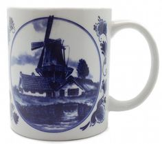This unique coffee mug combines popular European themes into a coffee cup. The volume of this ceramic coffee mug is equal to that of a standard coffee cup. A great themed Dutch gift! Coffee Cup featur