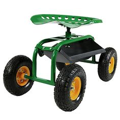 Sunnydaze Green Rolling Garden Cart with 360 Degree Swivel Seat  Tray ** See this great product.