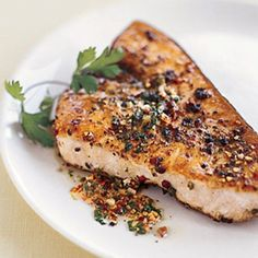 Pan-Roasted Swordfish Steaks with Mixed-Peppercorn Butter