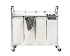 Chrome & Canvas 4-Section Laundry Sorter - Laundry Organization - Storage & Organization - Storage & Display | HomeDecorators.com