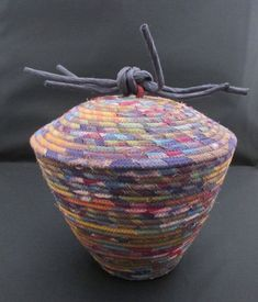 Handcrafted Fabric Wrapped Clothesline Coiled Machine Stitch Basket with Dome Lid and Raffia Knob