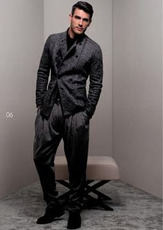 Smart casual. Layered Grey. Solid/Solid/Knit. Monochrome.  Zoot suit with a skinny top.