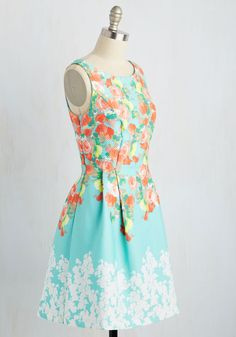 Twirl Tour Dress. In this sky blue A-line, youre dressed to impress everyone from the north, south, east, and west! #multi #modcloth