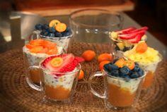 Arroz con leche, linaza y frutas Fruit Salad, Acai Bowl, Pudding, Breakfast, Desserts, Food, Linseed Oil, Arroz Con Leche, Yummy Recipes