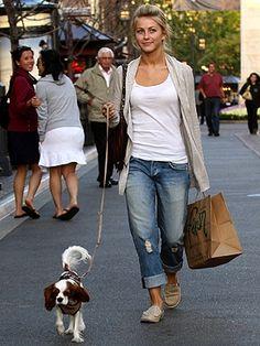 boyfriend jeans - top - long cardigan - flats