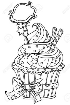 Cupcake Coloring Pages Printable Ideas - this time we shared some sample cupcake coloring pictures. Cupcake Coloring Pages, Food Coloring Pages, Printable Adult Coloring Pages, Coloring Pages To Print, Coloring Pages For Kids, Coloring Sheets, Free Coloring, Coloring Books, Digi Stamps