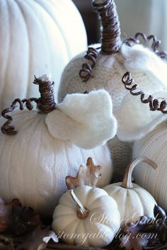 Sweater Pumpkins. No sewing required. Easy DIY instructions on how to make these charming wooly white pumpkins from Stone Gable.