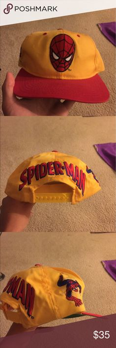 Vintage Spider-Man Snapback Hat Amazing 90's blockhead Snapback design. Made by American Needle. Very rare marvel comics piece Vintage Accessories Hats