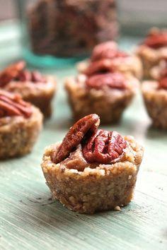 Raw Pecan Pie Tartlets. Gluten, Dairy, & Sugar Free, made with only THREE ingredients!
