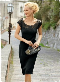 A handcrocheted floral lace yoke assures this dress its place in the pantheon of LBDs. Ever-chic in fine-gauge black pima, with a body-conscious fit that falls to a straight, knee-length hem. We recommend wearing over our Body-Shaping 34'' Slip, sold separately.