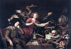 """Antonio de Perada,(1611 to 1678) """"The Knight's Dream"""". Spanish baroque with a slight influence of Caravaggio. """"The Knight's Dream"""" (painted in 1650) is in the collection of The Real Academia de Bellas Artes de San Fernando, Madrid"""