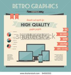 retro vector set of infographic elements for your documents and reports with electric devices by Vintage Vectors Studio, via Shutterstock