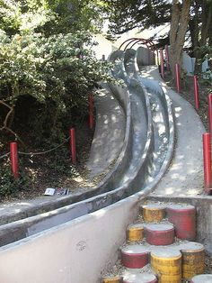 Seward Park concrete slides in SF.  Came across these by accident while on a staircase tour.  Too fun!  Hiking back up to slide again is a bear.