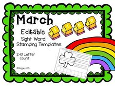 Do you need to build your own sight word stamping activities to go along with your current word list? Then this NEW March themed set, the first in a series, is for you! Templates are coded with 2-10 letter count stamping boxes, so you type the words on the corresponding templates, print and place in your stamping center.