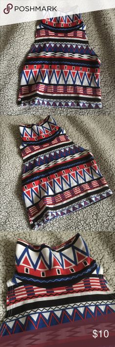 American Apparel Aztec print crop top Beautiful vibrant colors, crop top, cute turtle neck, size small, will fit someone best that an A or B cup. Super cute and excellent condition! American Apparel Tops Crop Tops