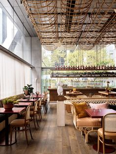 Glorietta restaurant by Alexander & CO.Photo by Anson Smart. Alexander Koch, Italian Bar, Timber Boards, Sydney Restaurants, Communal Table, Bentwood Chairs, Glass Boxes, Hospitality Design, Restaurant Bar