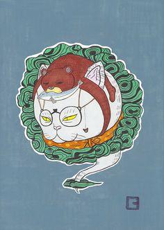 猫かぶり熊ねこ #illustration #イラスト #絵 #和風 #猫 #動物 #熊 #猫被り