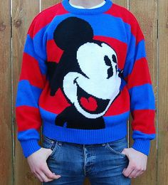 Vtg 80's 90's Mickey Mouse Sweater Large Print Two-Tone Disneyland Boyfriend Punk Pop Art - Size Small