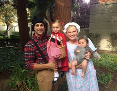 Daddy: lumberjack, Mommy: wolf, Big sis: Granny, Lil' sis: Red Riding Hood