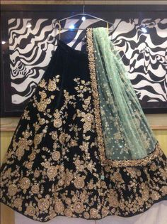 Black Embroidered Attractive Party Wear Lehenga Choli And Dupatta Set - Buy lehenga choli online Designer Bridal Lehenga, Bridal Lehenga Choli, Indian Lehenga, Pakistani Bridal Dresses, Indian Dresses, Indian Bollywood, Black Lehenga, Eid Dresses, Silk Lehenga