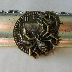 Vintage Steampunk Clockwork Spider Brooch