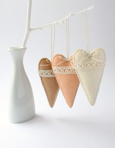 Set of 3 Felt Heart Ornaments, Home decor, Favors for Valentine's Day on Etsy, $18.00