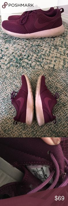 Nike Purple Roshes SUPER cute Nike Roshes!! Lovely dark purple color and soooo comfortable for walking, working out, anything!  Size 8. (It's hard to tell with tag so deep inside the shoe).   Used condition for a year, but everything is still on the shoe and works great! Nike Shoes Athletic Shoes