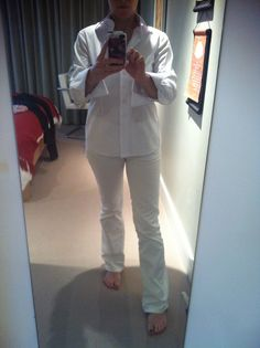 White french cuff blouse and winter white HB jeans