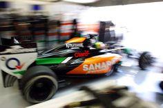 #SergioPerez (MEX) #SaharaForceIndia #F1 #VJM07 leaves the pits.Formula One Testing, #BahrainTest Two, Day One, Thursday 27th February 2014. Sakhir, Bahrain.