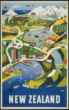 New Zealand Tourism Poster shows a stylised illustration of everyday life on a busy segment of the lower North Island of New Zealand, viewed from above. The view includes Wellington Harbour, Mount Ngauruhoe and the Central Plateau, Lake Taupo and Rotorua. Retro Poster, Poster S, Vintage Travel Posters, Poster Prints, Art Print, Pub Vintage, Photo Vintage, New Zealand Art, New Zealand Travel