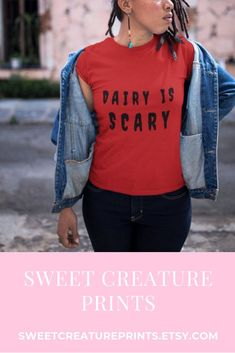 Dairy is Scary. This vegan shirt is perfect to wear to any animal rights protest to raise awareness that the dairy is industry is cruel and scary! Click through to view more vegan shirts. #vegan #dairyfree