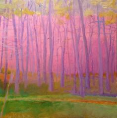 'In the Pink'  :  Wolf Kahn   2000 American     Oil on canvas #tree #art