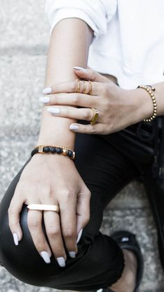 Be bold and mix and match your favorite jewelry pieces. Love that ring!