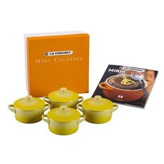 Le Creuset Four Mini Cocottes With Cookbook ($100) ❤ liked on Polyvore featuring home, kitchen & dining, cookware, soleil, french oven, le creuset, le creuset dutch oven, mini cocottes and french dutch oven