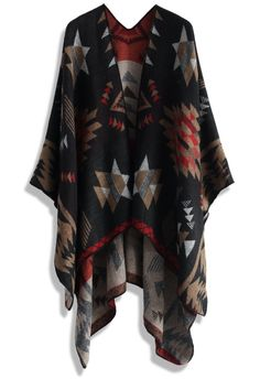 "This classy Aztec print blanket cape will totally save your drab outfit-wearing days! Simply slide into your denim jeans, pull on a long-sleeved top, step into a pair of nude heels and throw this cape atop the look to go from bleh to beautiful lickety-split!     - Crafted from fine knit  - Mixed Aztec pattern  - Open front  - 100% Acrylic  - Hand wash cold    Length: 78cm/31""  Width: 132cm/52"" Trendy Outfits, Fall Outfits, Cute Outfits, Fashion Outfits, Fashion Trends, Girly Outfits, Fashion Shops, Fashion Fashion, Unique Fashion"