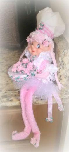 """pink rose elf chef pixie Christmas OOAK pink roses cake vintage head """"LOOK"""""""