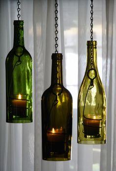 clear wine bottle lanterns lovely!