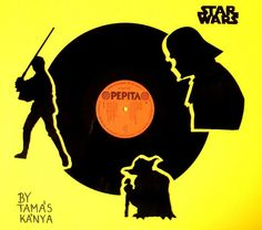 star wars silhouettes vinyl records art by tom-tom69, via Flickr