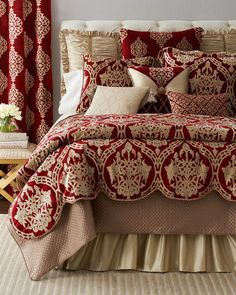 Shop luxury bedding sets and bedding collections at Horchow. Browse our incredible selection of full, queen, and king size luxury bedding sets. Glam Bedding, Luxury Bedding Sets, Bedroom Sets, Bedroom Decor, Master Bedroom, Cozy Bedroom, Black Bed Linen, Linens And More, Bed Linen Design