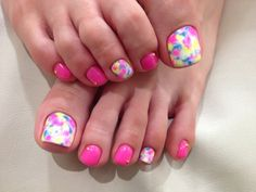 Bright pink, blue & yellow water color technique done on white. Solid pink alternated toes, easy free hand nail art. Pedicure, Toenail-art