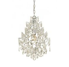 """View the AF Lighting 7743-1H Elements Series """"Cosmo"""" Mini Chandelier with Clear Glass Accents and Swag Kit, Finished in Chrome at LightingDirect.com."""