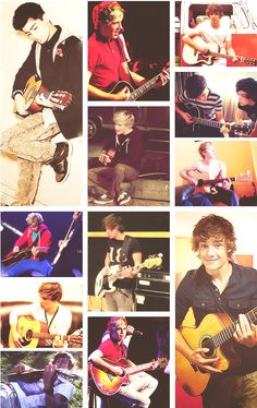 One Direction with guitars <3 Zayn Malik, Niall Horan, Liam Payne, Louis Tomlinson and Harry Styles <3