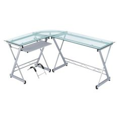 lshaped computer desk silverclear techni mobili - Glass L Shaped Desk