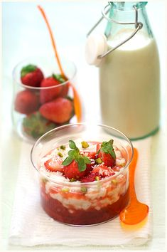 Coconut Milk Rice Pudding with Stewed Rhubarb and Strawberries