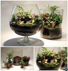 Wine Glass Terrarium-DIY Mini Fairy Terrarium Garden Ideas