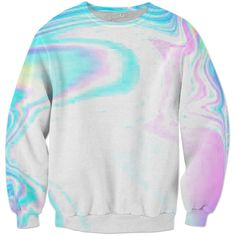 Bright Hologram Sweat Shirt ($75) ❤ liked on Polyvore featuring tops, hoodies, sweatshirts, bright colored sweatshirts, hologram top, bright tops and holographic top