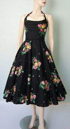 1950s Floral Cotton Halter Dress with Pleated by KittyGirlVintage, $188.00